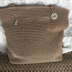 The Sak Crochet medium Shoulder purse bag beige